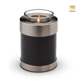 Waxinelichthouder-mini urn, antraciet grijs met zilverkleurige messing band. Voorzien van GlossCoat™