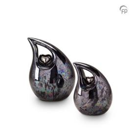 Keramische urn druppel, blauw/metallic met zilveren hart.