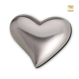 Hart urn sierlijk zilverkleurig mat bol
