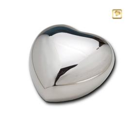 Hart urn zilverkleurig glans