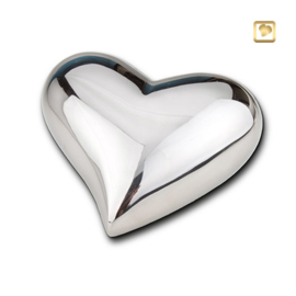 Hart urn sierlijk zilverkleurig - glans -  bol