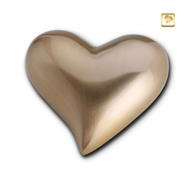Hart urn sierlijk goudkleurig mat bol