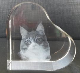 Glazen hart met lasergravure