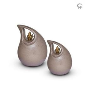 Keramische urn druppel, bruin met gouden hart.
