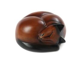 Houten Slapende kat urn