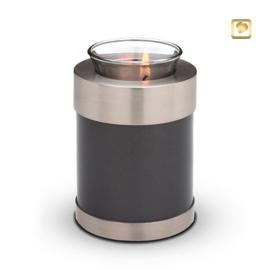 Waxinelichthouder-mini urn, antraciet grijs met zilverkleurige messing band.