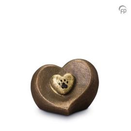 Keramische hart urn met pootje in bronzen afwerking