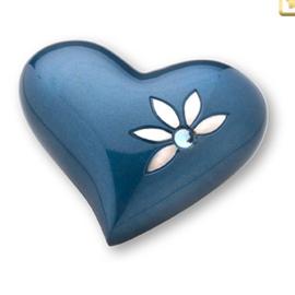 Hart urn sierlijk blauw met bloem