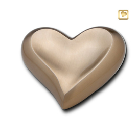Hart urn sierlijk goudkleurig mat