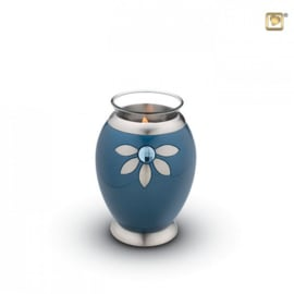 Waxinelichthouder-mini urn, glimmend blauw met Swarovski kristal. Voorzien van GlossCoat™