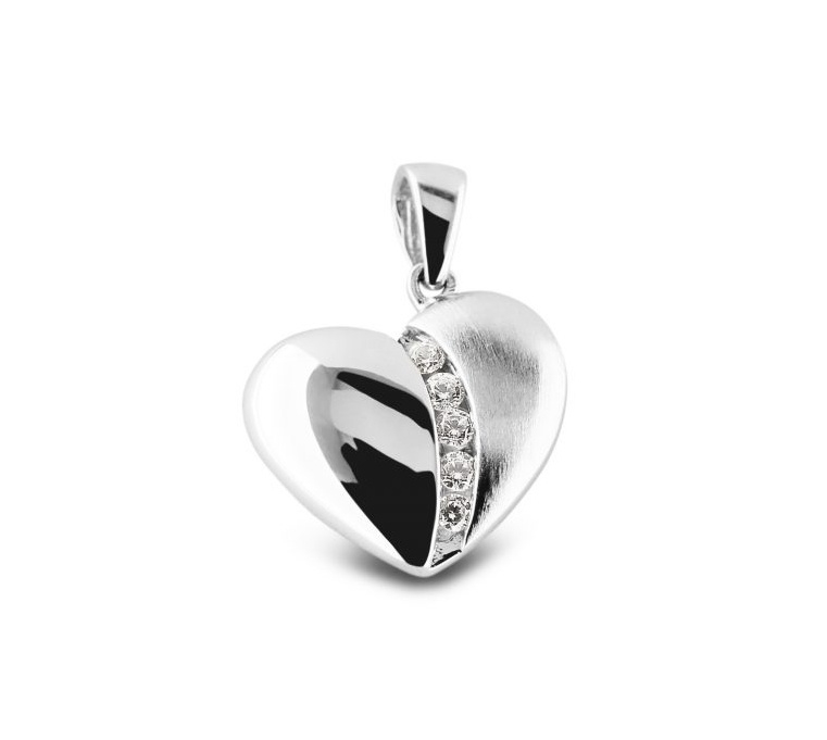 Zilveren hart hanger, mat/glans. RL 003 Zilver