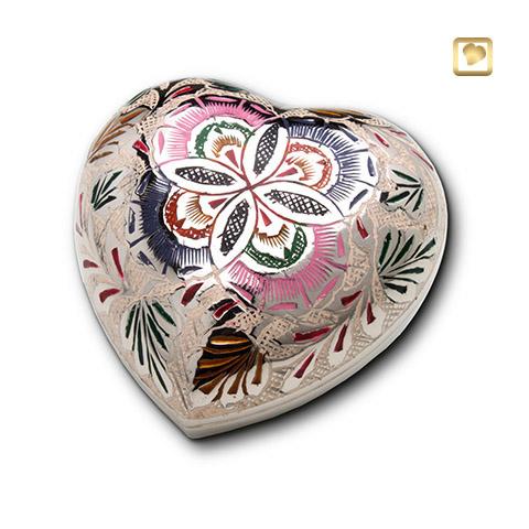 Hart urn zilverkleurig - groen/roze bewerkt