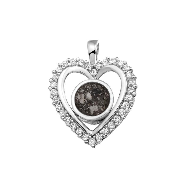 Zilveren hanger, hart gezet met zirkonia. 124 SVO Zilver