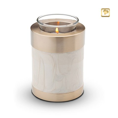Waxinelichthouder-mini urn, Simplicity Pearl