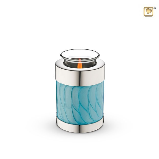 Waxinelichthouder-mini urn, Blauw-gemarmerd