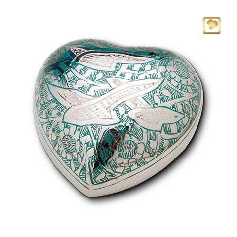 Hart urn zilverkleurig - groen bewerkt