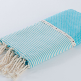 Honeycomb - Blue Turquoise with ecru stripes - 100x200cm