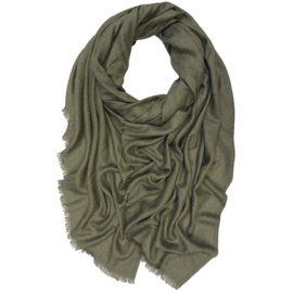 Winter Scarf Mix Wool Cotton - Olive green