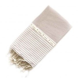 Hammamtowel Honeycomb - Light taupe with ecru stripes 100x200cm