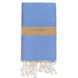 Hamamdoek Nid d'abeille - Azur blauw - 100X200cm (LANTARA)
