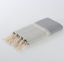 Hammam Towel Honeycomb - Grey with ecru stripes 100x200cm