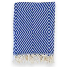 Plaid Diamant Wol - Cobalt Blue - 120x150cm