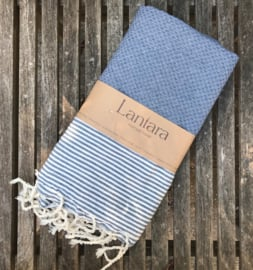 Hammamtowel Honeycomb - Denim Blue with ecru stripes - 100x200cm