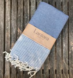 Hamamdoek Nid d'abeille - Jeans blauw met ecru streepjes - 100X200cm (LANTARA)