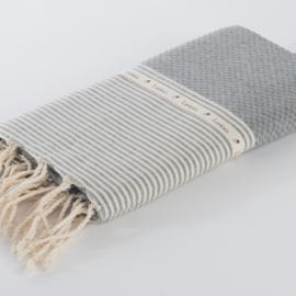 Hamamdoek Wafel -Gemeleerd grijs met ecru streepjes - 100X200cm (LANTARA)