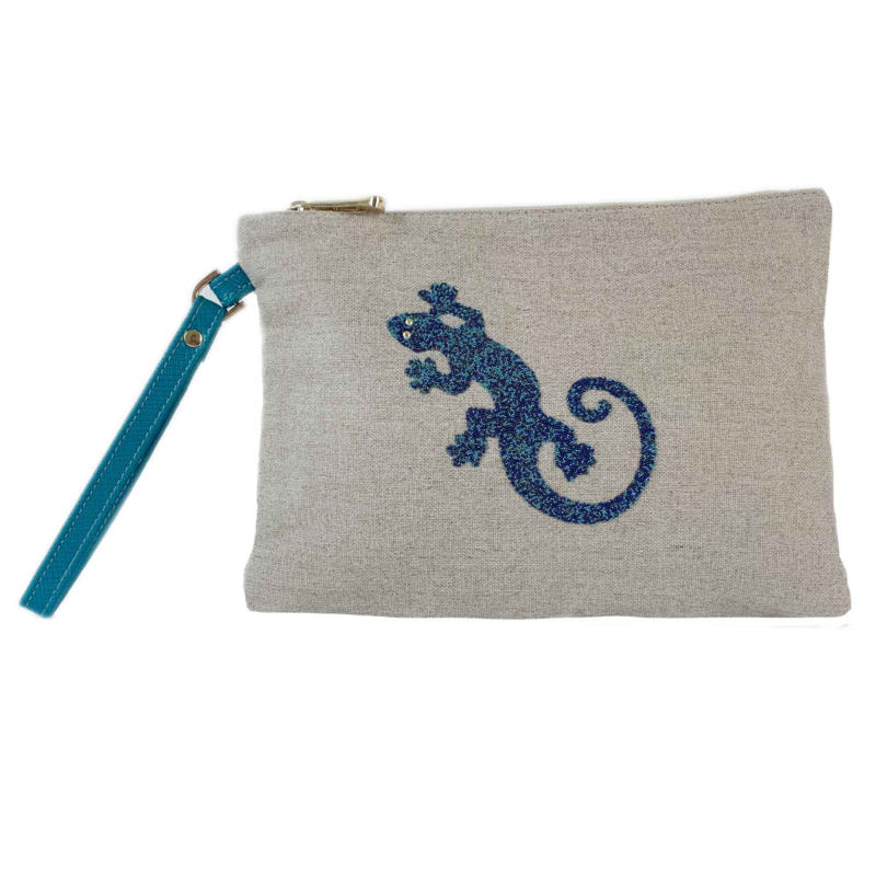 Petrol Blue Gecko Clutch