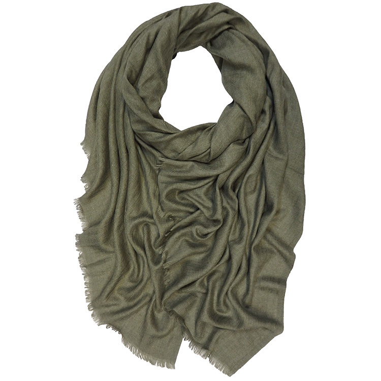 Shawl Wol Katoen Mix - Olive Green