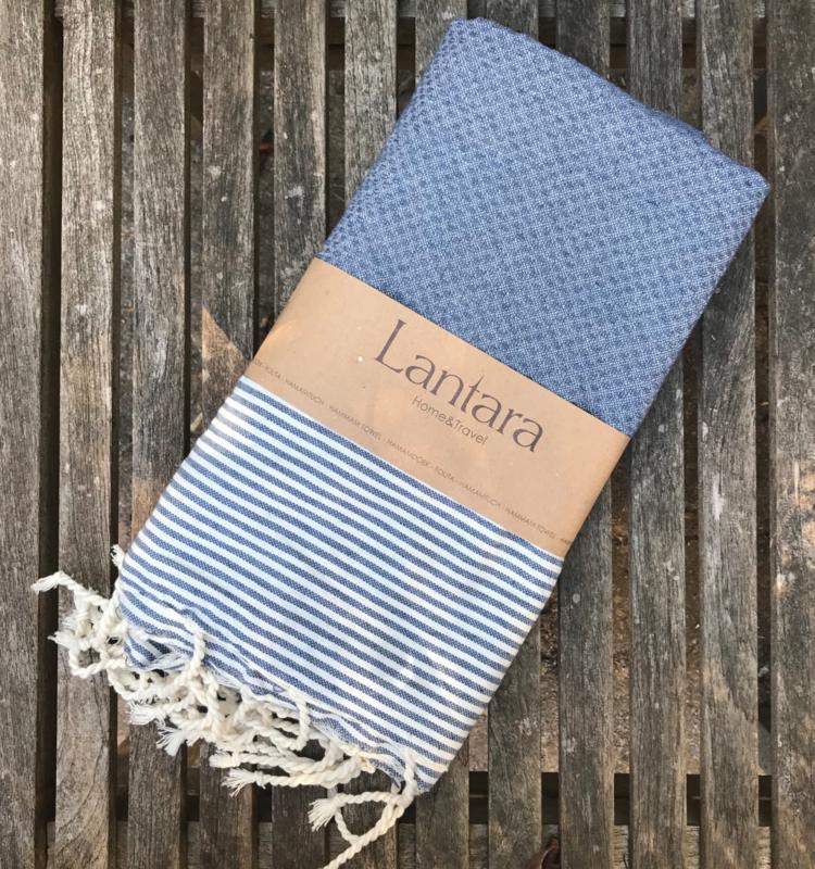Hammamtowel Honeycomb - Denim Blue with ecru stripes - 100x200cm