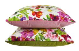 079 Kussen multicolor bloemen met groene achterzijde