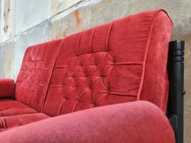 Rode Velvet Jaren '70 Bank | 2-Zits