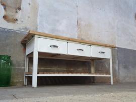 Industriële Stalen Witte Tafel | 3 Laden