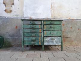 Industriële Stalen Werkbank Groen | 10 Laden
