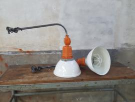 Industriële Fabriekslamp Wit Oranje | Muurlamp