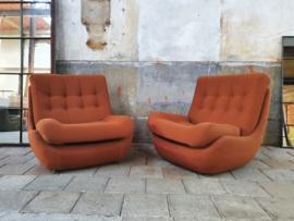 Jaren '70 Oranje/Bruine Relax Fauteuils