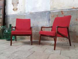 Set Vintage Jaren '60 Stoelen | Rood/Zwart