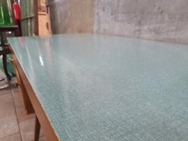 Retro Houten Bureau | Groen-Blauwe Formica