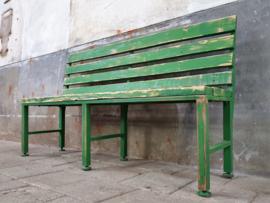 Vintage Groene Tuinbank | Hout & Staal