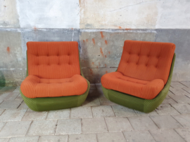 Jaren '70 Groen/Terra Relax Fauteuils