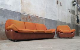 Retro '70 Zithoek | Oranje 3-Zits Bank & Stoel
