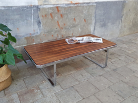 Jaren '70 Design Koffietafel | Palissander & Chroom