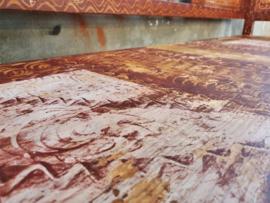Beschilderde Houten Klepbank   Bruin B198cm