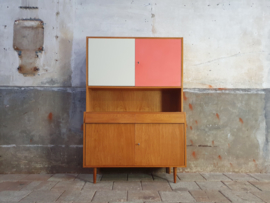 Vintage Jiroutek Design Highboard | Retro Kast Wit/Roze