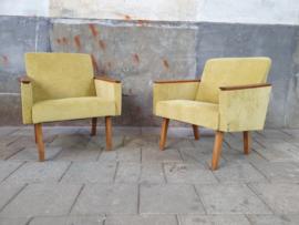 Vintage Gele Fauteuils | Fluweel Look