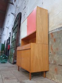 Vintage Jiroutek Design Highboard | Retro Kast Wit/Roze