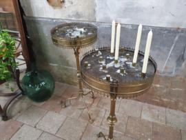 Antieke Messing Kandelaars Hoog   Frankrijk