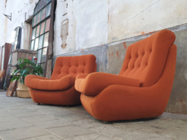 Set Jaren '70 Terracotta Fauteuils